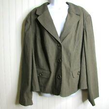 NEW Lane Bryant Pinstripe Jacket 3 Button Blazer Brown Size 28 Office Career