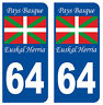 64 PAYS BASQUE DEPARTEMENT PLAQUE IMMATRICULATION 2 X AUTOCOLLANTS STICKER AUTOS
