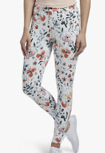 NWT  HUE Women's Curvy Fit Denim Jean Leggings, Sketched Flower Size S