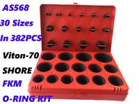 VITON FKM O-RING KIT 70 DUROMETER BLACK 30 SIZES, 382 PCS AS568 STANDARD SIZES