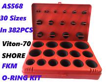 VITON FKM O-RING KIT 70 DURO BLACK 30 SIZES, FKM 382 PCS AS568 STANDARD SIZES