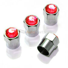 4 Red Diamond Crystals Tire/Wheel Air Stem Valve Caps for Car-Truck-Hot Rod