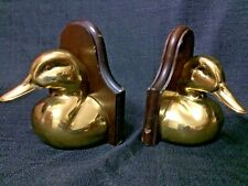 Solid Brass Wood Mounted Duck Bookends from Ethan Allen Made In England