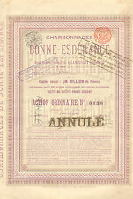 Charbonnages de Bonne-Esperance SA, accion, Lambusart, 1898 (cupones)