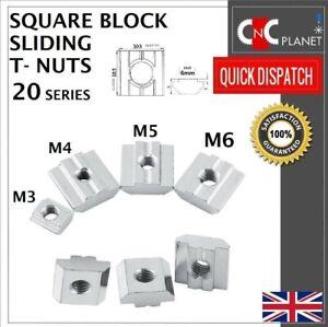 T-nut M3 M4 M5 M6 Square Solid Slide in sliding nut Aluminum Extrusion 20 Series