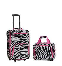 Rockland Rio Carry On 2 Piece Luggage Set Pink Zebra Soft Tote Tolietries Bag