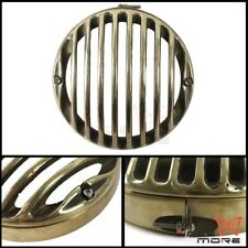 "5 3/4"" CNC Headlight Light Grill Cover Brass For Harley Sportster XL 883 1200"