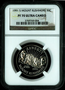 1991 S MOUNT RUSHMORE 50th Anniversary Half Dollar Coin NGC PF 70 ULTRA CAMEO