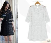 European Style Cocktail Evening Races Lace Mini Dress in Black or White 3160