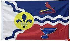 St. Louis Blues Cardinals St Louis 3x5 Man Cave Flag Saint Louis 3 x 5 Banner