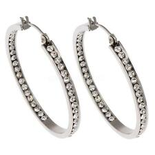 Fashion Women Rhinestone Stainless Steel Hoop Loop Hook Charm Ear Earrings