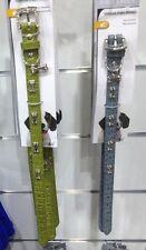 Collier Chien Bleu Gris simili Cuir Luxe Boucle Strass et Os Chromé 19mm x 40cm