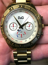D&G DOLCE & GABANNA Watch Chronograph 24 Hour Gold Tone Working New Battery