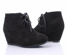 Black Sexy Wedge Ankle Booties Lace Up Shoes Faux Suede Heels Boots Size 8