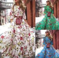 Womens Holiday Boho Floral Long Maxi Dress Ladies Casual Long Sleeve Swing Dress