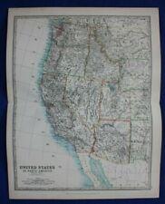 Original antique map USA, AMERICA, CALIFORNIA, OREGON, UTAH, Johnston, 1896