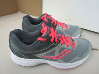 WOMENS SAUCONY GRID COHESION 10 GRAY CORAL WHITE RUNNING SHOES SIZE 7M A45