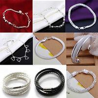 Fashion 925 Sterling Silver Women Charm Love Heart Beads Bracelet Bangle Jewelry