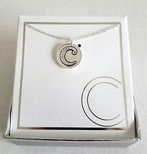 """18"""" INCH FINE SILVER PLATED RHINESTONE LETTER """"C"""" INITIAL CHARM PENDANT NECKLACE"""