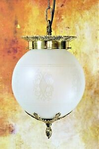 Ceiling Light A Vintage 1970s Frosted Globe Etched Clear Decorated Glass Pendant
