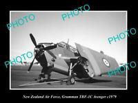 OLD POSTCARD SIZE PHOTO OF NEW ZEALAND AIR FORCE GRUMMAN AVENGER PLANE 1979
