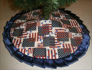 """Special Order Patriotic Tree Skirt ~ 20"""" ~ Stars & Bars ~ Custom Made"""