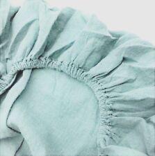 """JOWOLLINA Spannbettlaken  (160x200 + 20 cm), 100% Leinen """"Stonewashed"""", Sky blau"""