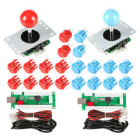 2 Player USB Controller To PC Game For Arcade Games DIY Kits Parts & Red / Blue