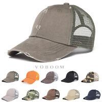 VOBOOM Vintage Distressed Mesh Trucker Baseball Cap Outdoor Sports Hat Snapback