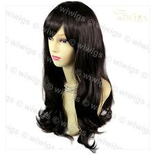 Lovely Wavy Face Frame Soft Long Dark Brown Ladies Wig Skin Top Hair WIWIGS UK