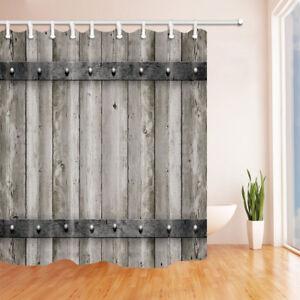 Waterproof Polyester Shower Curtain Gray wooden barn door 12 Plastic Hooks