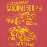 Vintage Cardinal 500 Racing T Shirt Auto Race Carrera Shocks Mod Squad LMS 1979