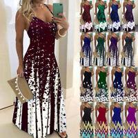 Women V Neck Suspender Maxi Dress Floral Print Dress Casual Ball Gown Long Dress