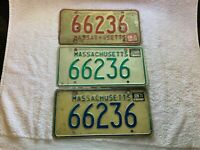 3 MASSACHUSETTS MA LICENSE PLATES VINTAGE RED GREEN BLUE ALL SAME NUMBER 66236