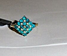10K Yellow Gold Blue Neon Apatite Round & Zircon Cluster Ring, Size 7, 1.08(TCW)
