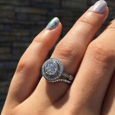 925 Silver Engagement Wedding Ring Sets Certified 2.10 Ct Round Cut Moissanite