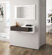 Recibidor mueble para entrada con cajon y espejo color blanco brillo y toscana