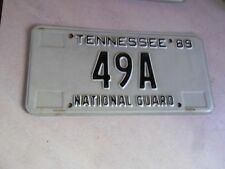 """RARE ORIGINAL LOW NUMBER """"49A"""" 1989 TENNESSEE NATIONAL GUARD LICENSE PLATE"""
