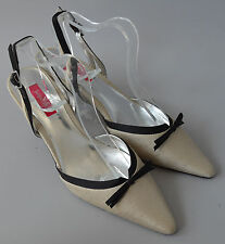 Ladies Jacques Vert Champagne Beige & Black Slingback Shoes Size Uk 3