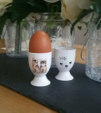 Set of 2 (Pair) Bone China Kitten Cat Lover Egg Cup Hand Decorated In Wales