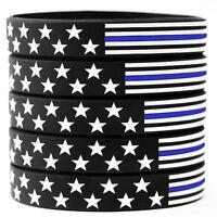 10 US Flag Stars and Stripes Wristband Featuring Thin Blue Line - USA Bracelets