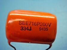 (2) SBE 716P33492L .33uF 330000pF 330nF 200V RADIAL ORANGE DROP CAPACITOR
