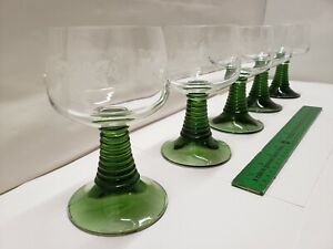 5 Vintage German Roemer Wine Glasses Etched Grapes Green Beehive Stem France EUC