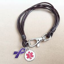 Real Leather Wristband Bracelet Epilepsy Epileptic Awareness Alert Charms