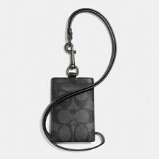 New Coach F58106 Mens ID Lanyard In Signature Coated Canvas Charcoal Black NWT