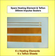 6x Nuevo - 300 Mm De Repuesto elementos de calefacción y Teflon Tiras Para impulso Selladoras