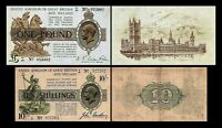 2x 10 Shillings + 1 Pound - Issue ND 1917 - 1918 George V - Reproduction - 25