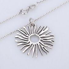 "Unique 925 Sterling Silver Sun Pendant Necklace 20"" Chain Modern Handmade UK"