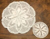 Vintage Crochet Doilies Crocheted Set of 2 Off White