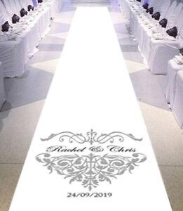 Personalised WEDDING AISLE RUNNER. Church Wedding Carpet Decoration. 15ft - 30ft